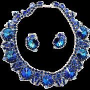 Vintage Juliana Bermuda Blue Rhinestone and Rivoli Collar Necklace and Earrings Demi Parure