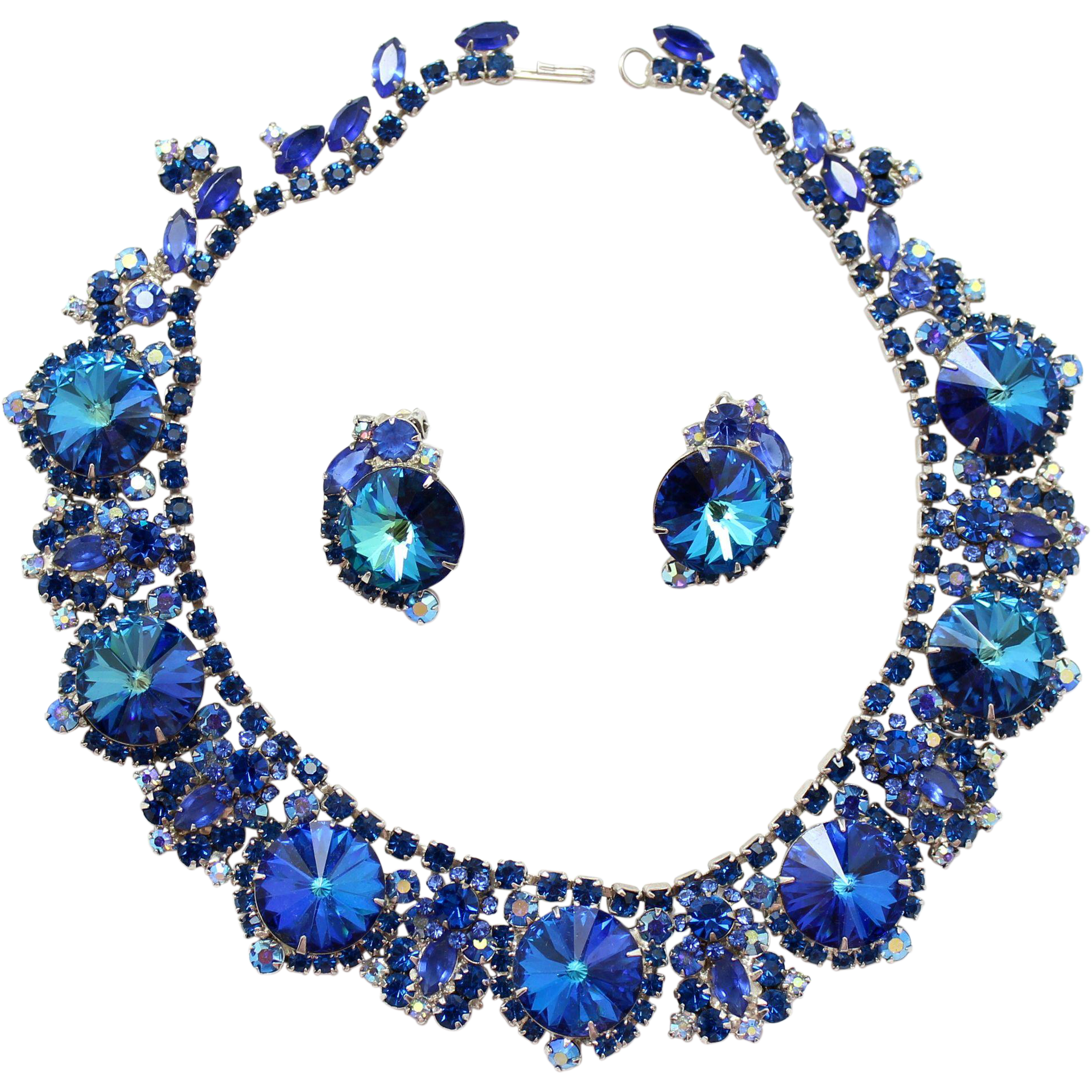Vintage Juliana Bermuda Blue Rhinestone and Rivoli Collar Necklace and Earrings Demi Parure