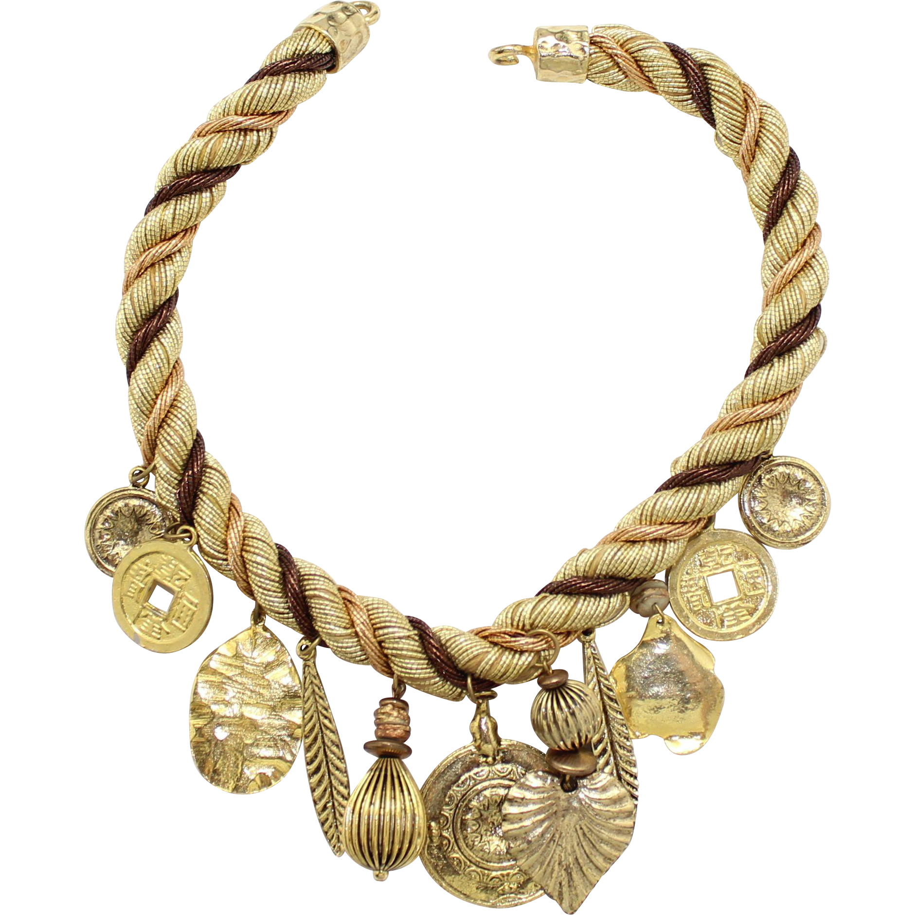 Vintage Juliana Book Piece Twisted Cord Charm Necklace