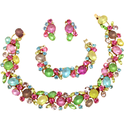 Vintage Juliana (D and E) Frosted Pastel, Fruit Salad Rhinestone Collar Necklace, Bracelet and Earrings Parure