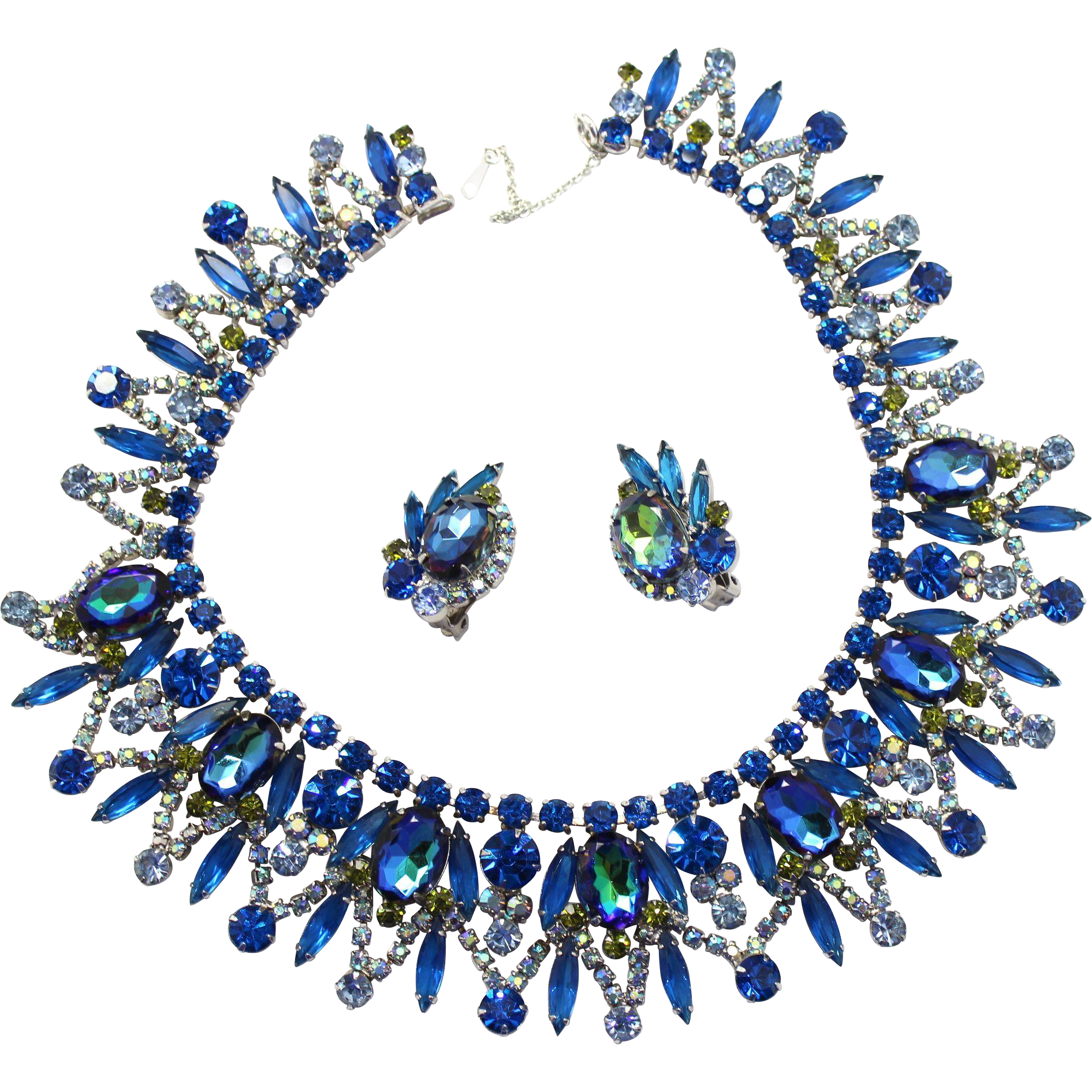 Vintage Juliana (D&E) Book Piece Bermuda Blue Watermelon Rhinestone Collar Necklace & Earrings