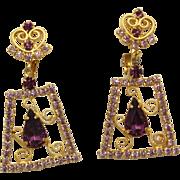 Vintage Juliana Lavender Amethyst Rhinestone Heart S Scroll Dangle Earrings