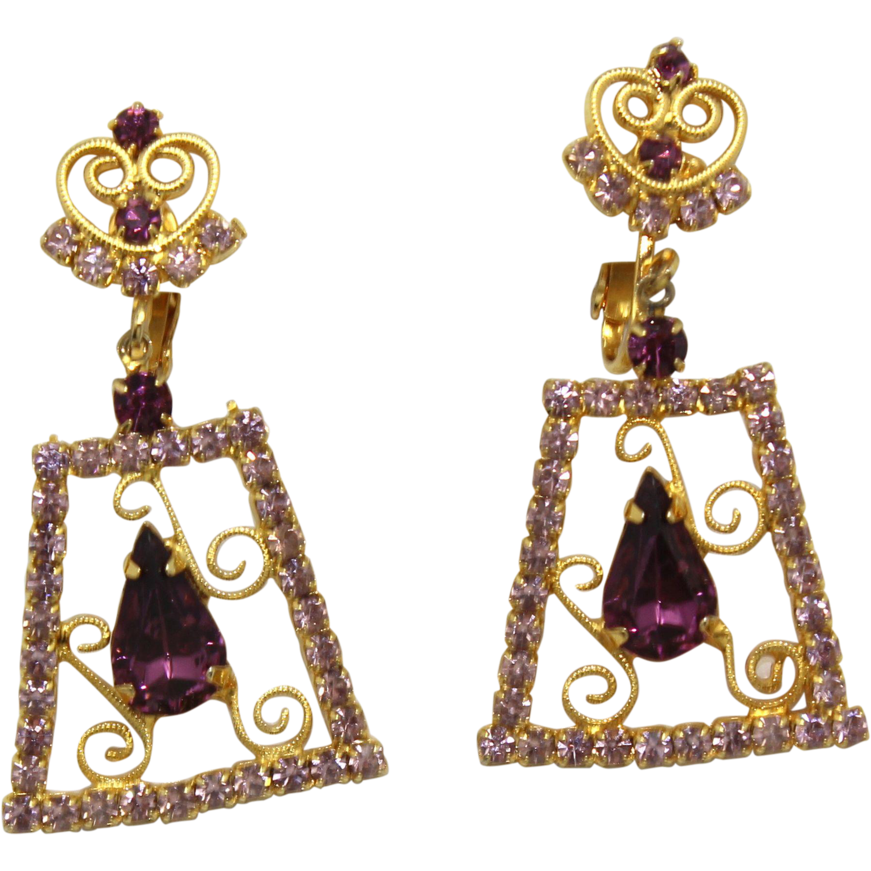 Vintage Juliana Lavender Amethyst Rhinestone Heart S Scroll Dangle Earrings