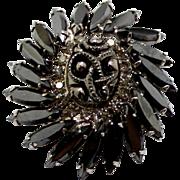 Vintage Juliana (D&E) Specialty Hematite Cabochon Rhinestone Brooch