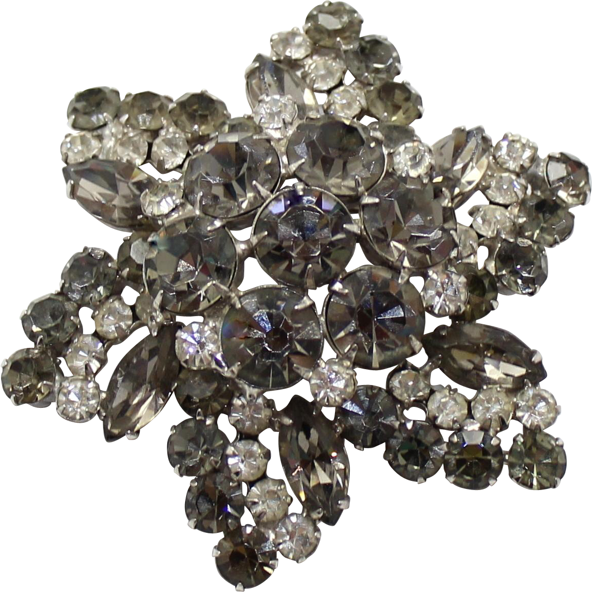 Vintage Juliana (D&E)  Large Brooch Gray & Clear Rhinestones