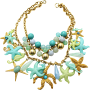 Vintage Juliana (D&E) Book Piece Large Star Fish, Seahorse, Bead Charm Necklace
