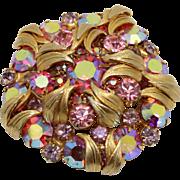 Vintage Juliana (D&E) Book Piece Pink & AB Rhinestone Venus Flames Brooch - Pendant