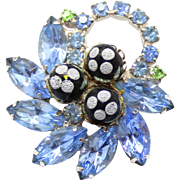 Vintage Juliana (D&E) Blue Rhinestone Polka Dot Bead Brooch