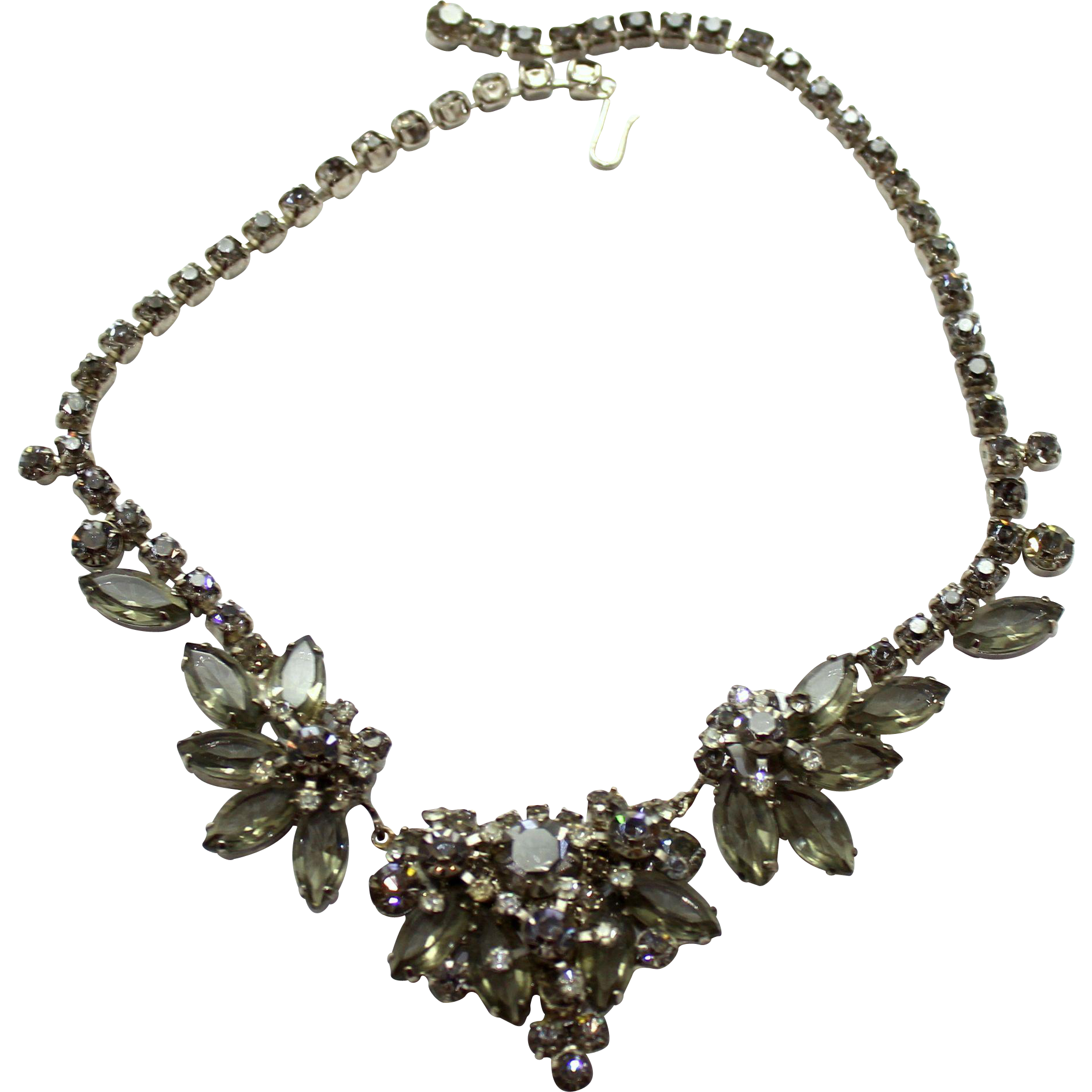 Vintage Juliana Gray Clear Rhinestone necklace