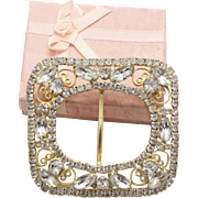 Vintage Juliana (D&E) Book Piece Clear Rhinestone Belt Buckle