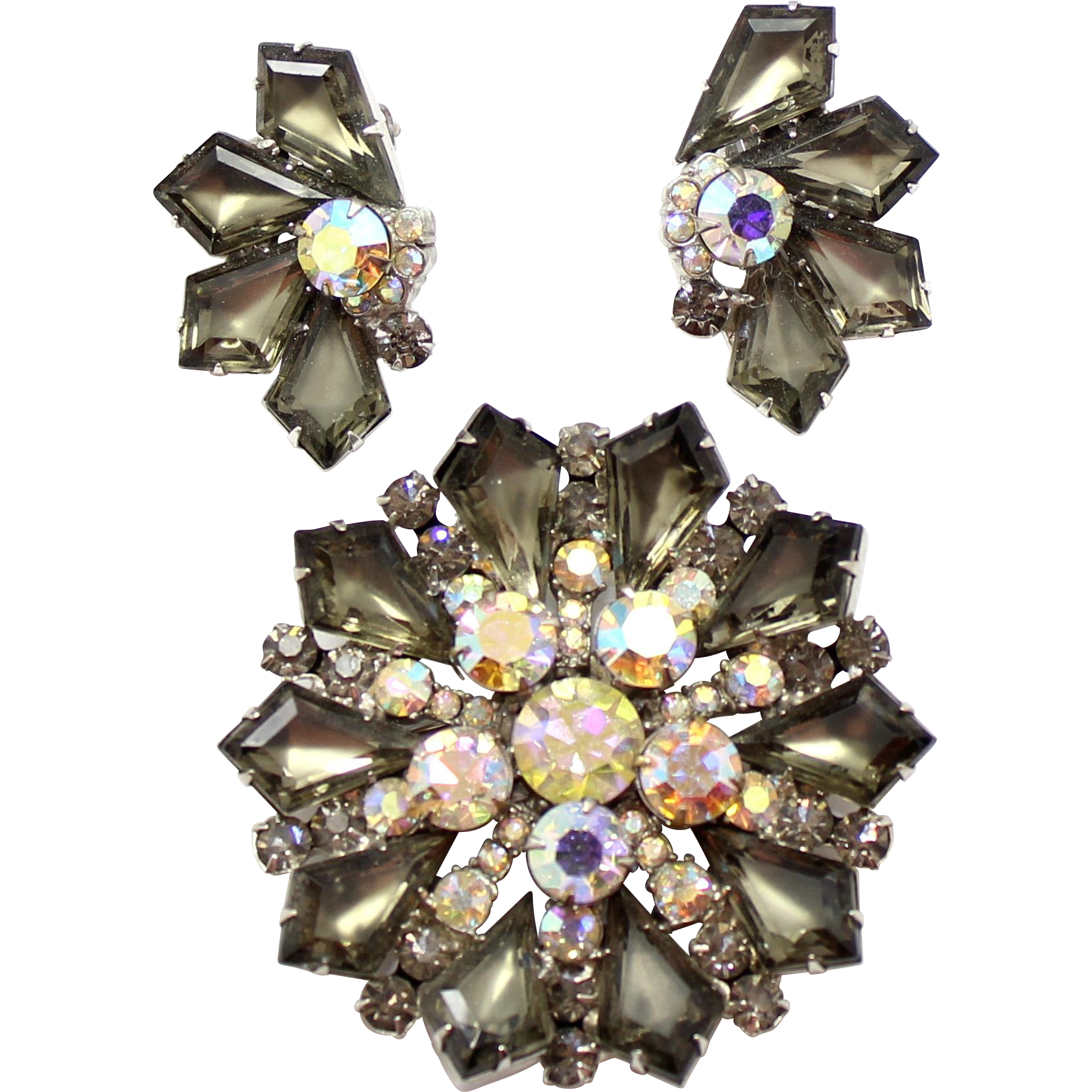 Vintage Juliana (D and E) Book Piece Gray Kite and AB Rhinestone Brooch and Earrings Demi Parure