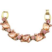 Vintage Juliana Book Piece Pink Carved Glass Leaf Rhinestone Bracelet
