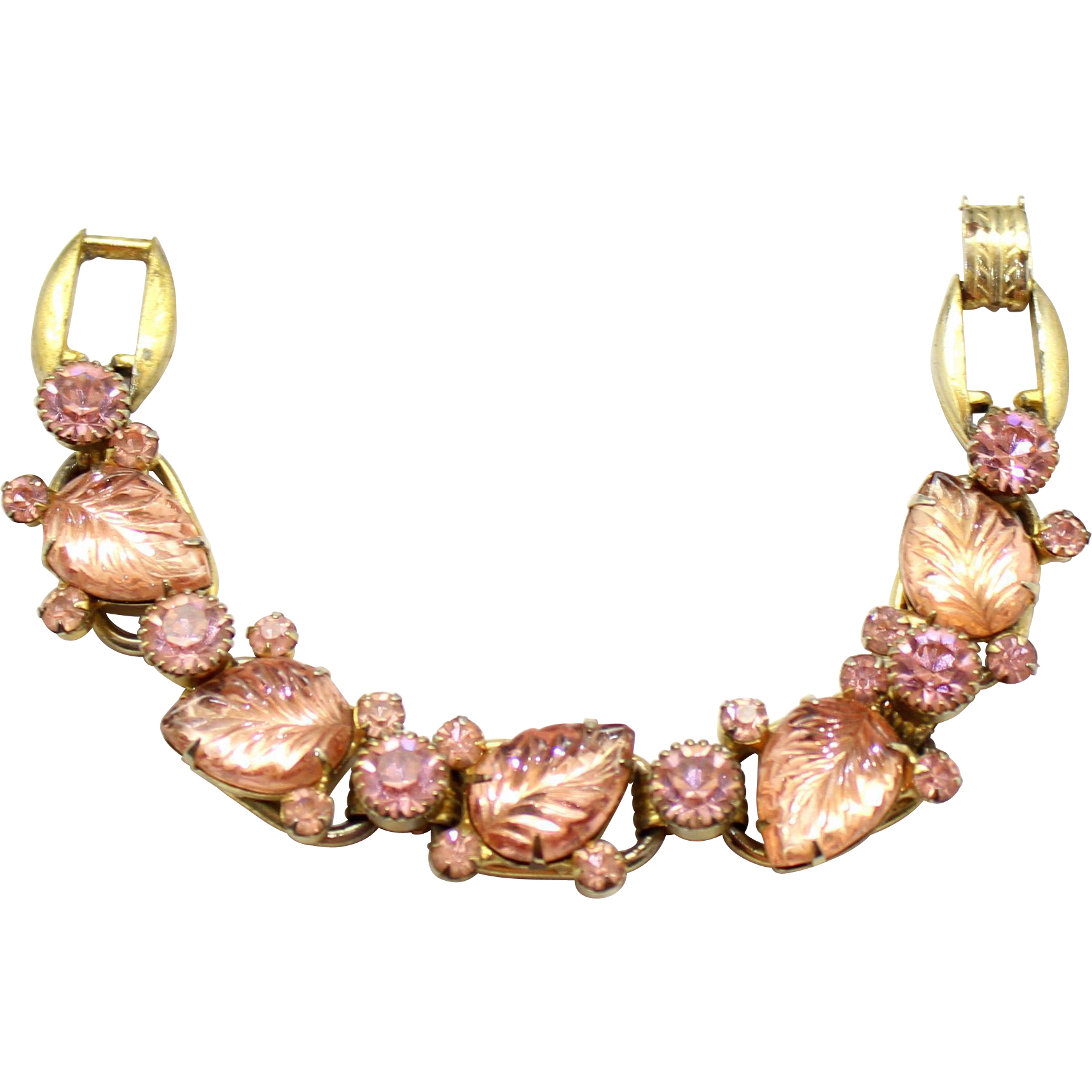 Vintage Juliana (D&E) Book Piece Pink Carved Glass Leaf & Rhinestone Bracelet