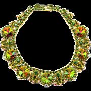Vintage Juliana Olivine Green Rhinestone Watermelon Rivoli Collar Necklace