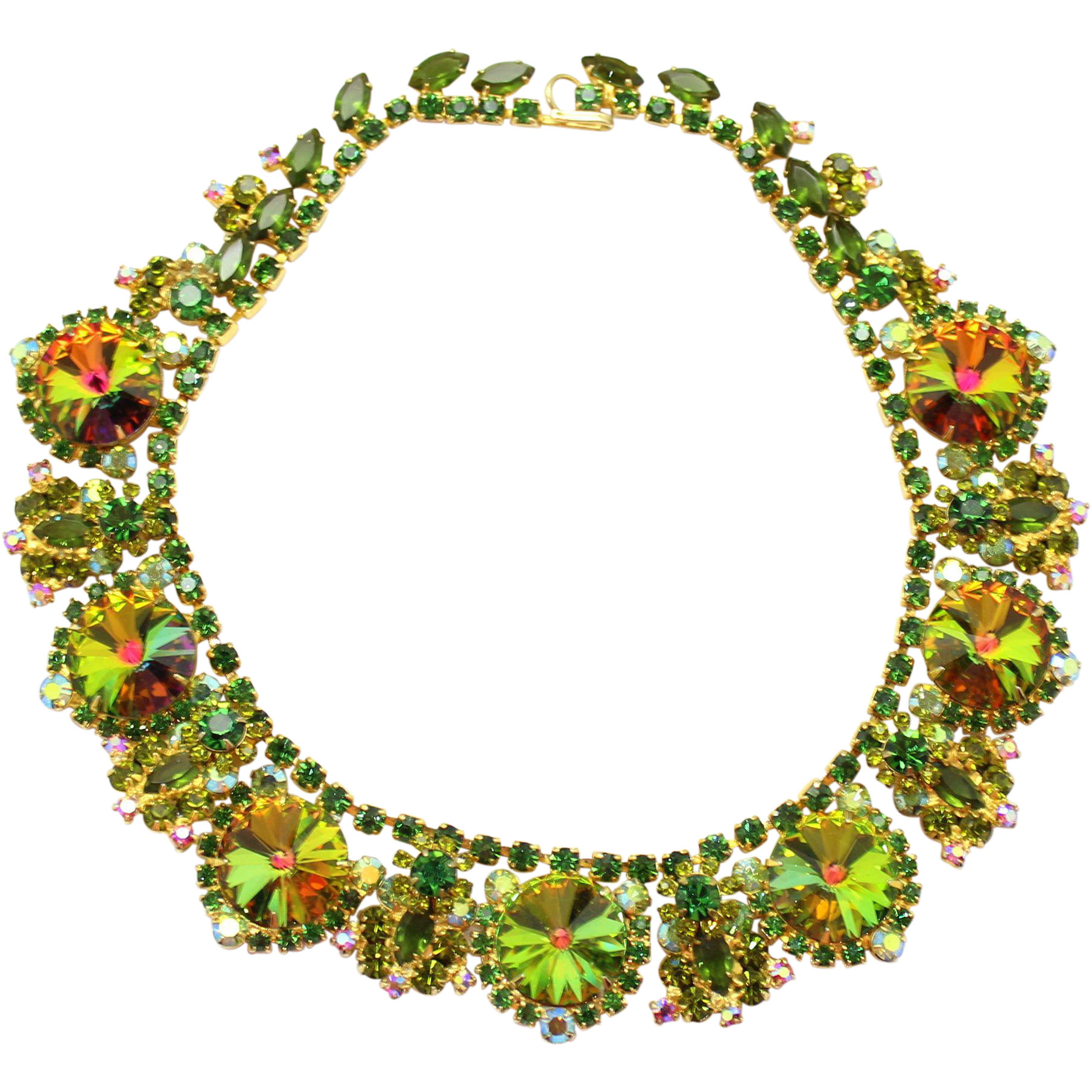 Vintage Juliana (D&E) Olivine Green Rhinestone & Watermelon Rivoli Collar Necklace