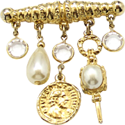 Vintage Juliana (D&E) Faux Pearl & Coin Dangling Charms & Crystal Bar Pin Brooch