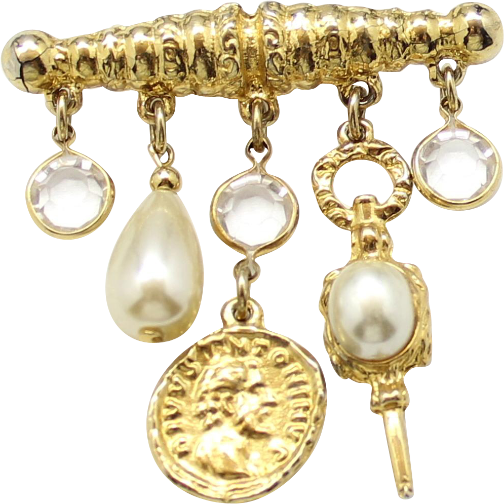 Vintage Juliana Faux Pearl Coin Dangling Charms Crystal Rhinestone Bar Pin Brooch