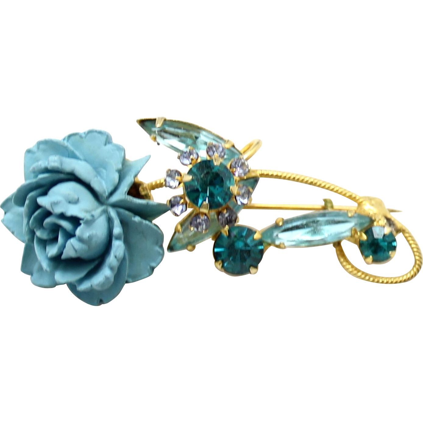 Vintage Juliana (D&E) Resin Aqua Blue Rose & Teal Rhinestone Flower Brooch