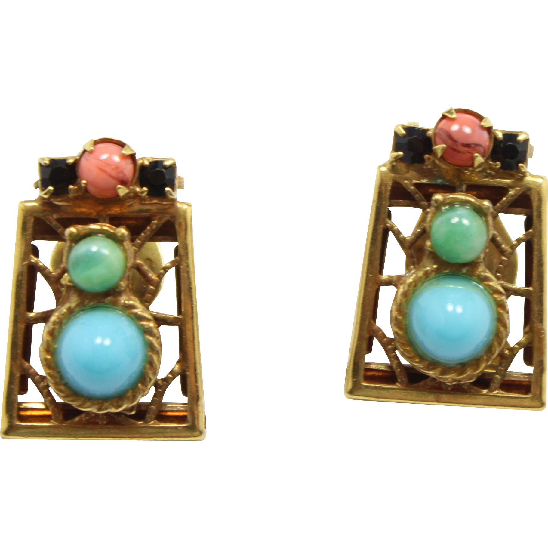 Vintage Juliana (D&E) Book Piece Moroccan Matrix, Faux Turquoise, Jade & Coral Cabochon Earrings