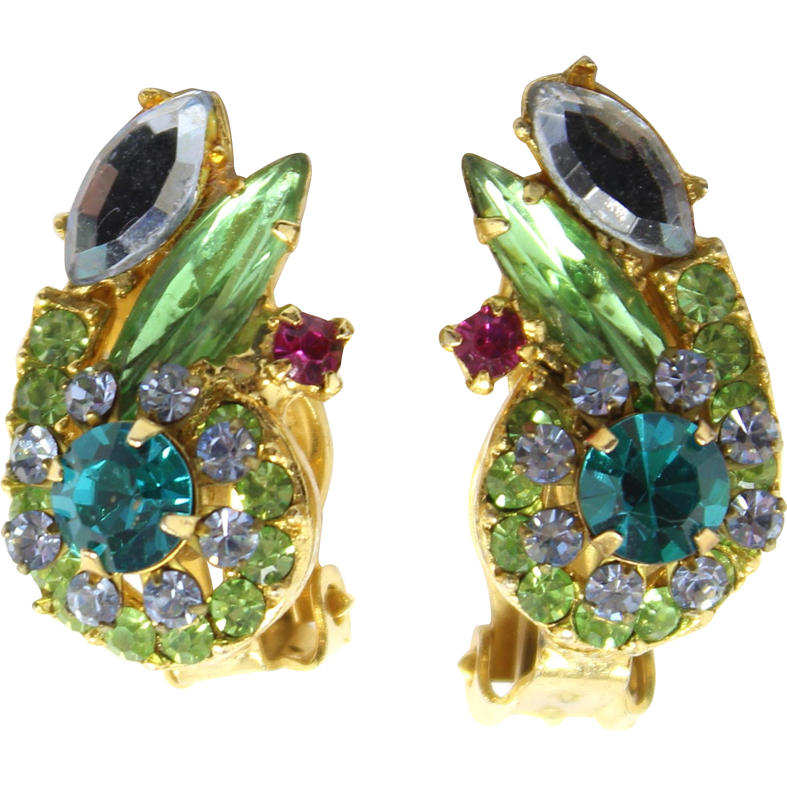 Vintage Juliana (D&E) Blue Flat Backed Navettes & Peridot Rhinestone Earrings