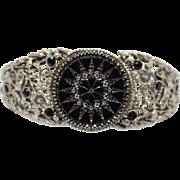 Vintage Etched Black and Silver Star Rhinestone Clamper Bracelet