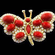 Vintage Juliana (D&E) Book Piece Red Cabochon & Opal Rhinestone Butterfly Brooch