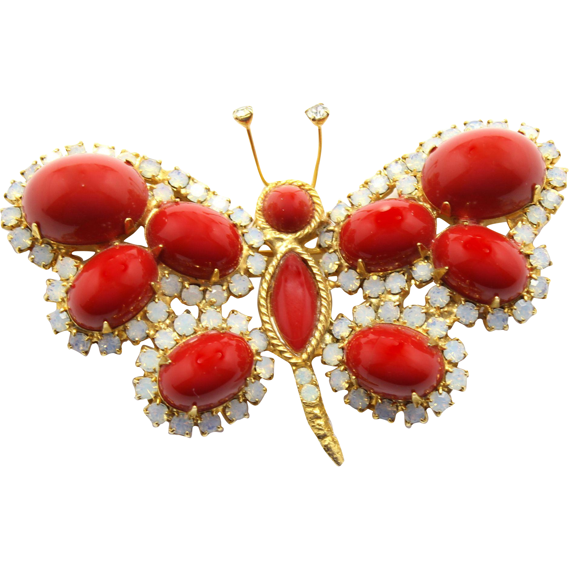 Vintage Juliana (D&E) Book Piece Red Cabochon & Opal Rhinestone Butterfly Brooch