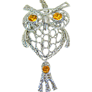 Vintage Amber Rhinestone Eyed Articulated Owl Pendant Necklace