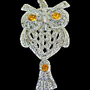 Vintage Amber Rhinestone Eyed Articulated Owl Pendant Necklace