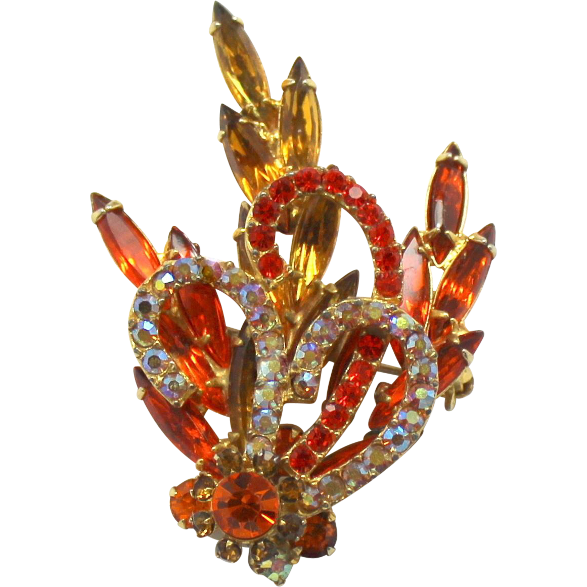 Vintage Juliana (D&E) Book Piece Hyacinth (Orange), Topaz & AB Rhinestone Brooch