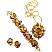Vintage Juliana (D and E) Book Piece Topaz Striped Givre Rhinestone Brooch / Pendant Necklace, Bracelet and Earrings Parure