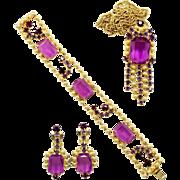 Vintage Juliana (D&E) Ball Chain & Purple Rhinestone Parure
