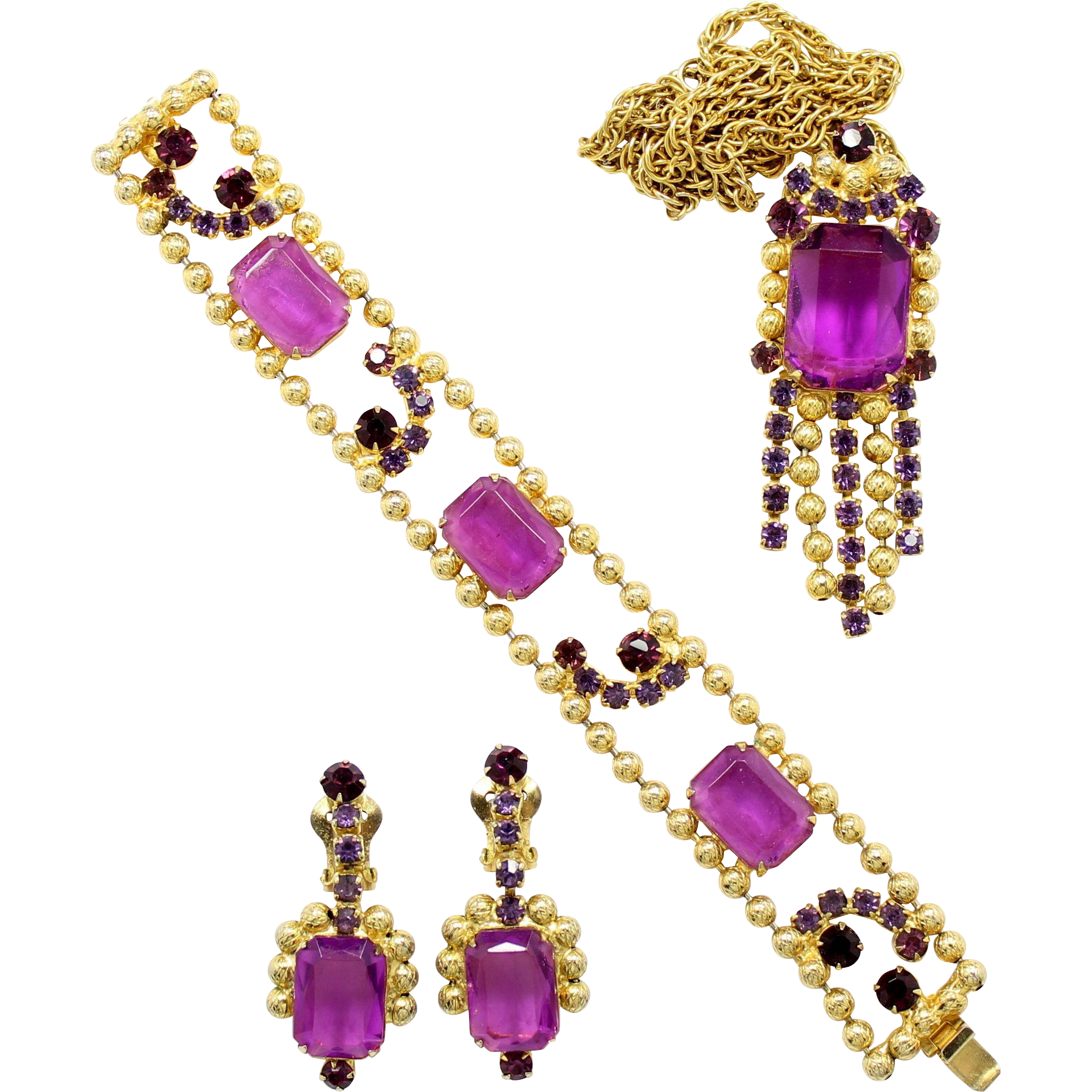 Vintage Juliana (D and E) Ball Chain Amethyst andPurple Rhinestone Necklace, Bracelet and Dangle Earrings Parure
