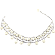 Vintage Juliana (D&E) Clear Rhinestone, Faux Pearl & S Scroll work Dog Collar or Choker Necklace