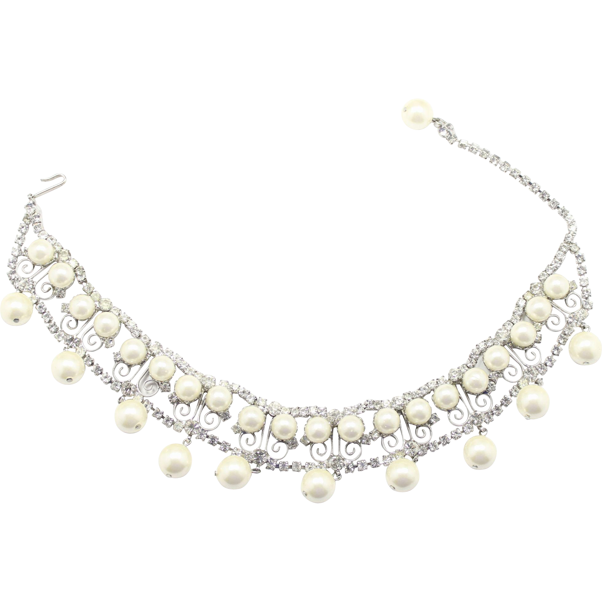 Vintage Juliana Clear Rhinestone Faux Pearl S Scroll Dog Collar or Choker Necklace