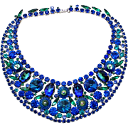 Vintage Juliana (D&E) Book Piece Watermelon Rivoli & Margarita Bermuda Blue Rhinestone Bib Necklace