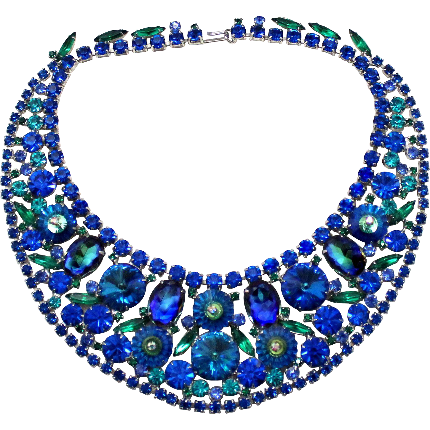 Vintage Juliana Book Piece Watermelon Rivoli Margarita Bermuda Blue Rhinestone Bib Necklace