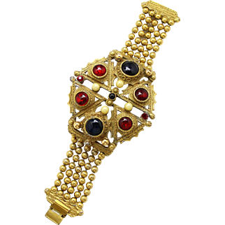 Vintage Juliana (D&E) Red Cabochon Rhinestone & Faux Pearl, Ball Chain Bracelet