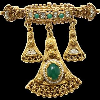 Vintage Juliana (D&E) NEW FIND Etruscan Faux jade & Faux Pearl Bar Dangle Brooch