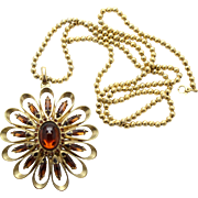 Vintage Juliana Book Piece Topaz Cabochon Rhinestone Metal Petal Ball Chain Pendant Flower Necklace