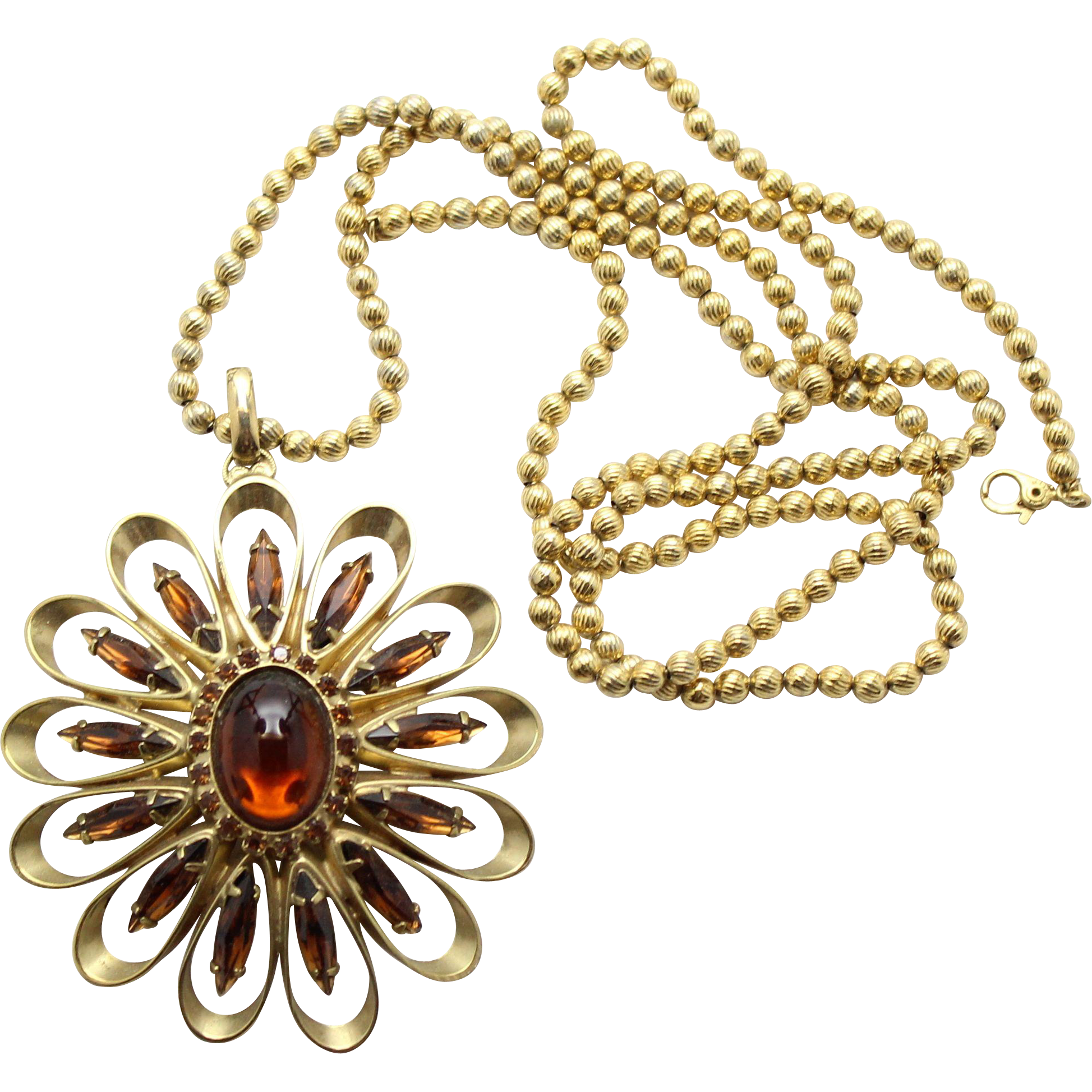 Vintage Juliana (D&E) Book Piece Topaz Cabochon & Rhinestone Pendant Necklace