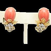 Vintage Juliana (D&E) Book Piece Orange Cabochon Rhinestone & Filigree Leaf Earrings