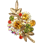 Vintage Juliana (D&E) Fall Colored Rhinestone Leaf Shaped Brooch
