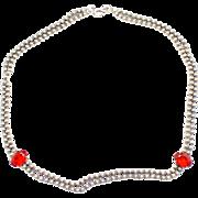 Vintage Juliana (D&E) Ball Chain & Red Rhinestone Necklace