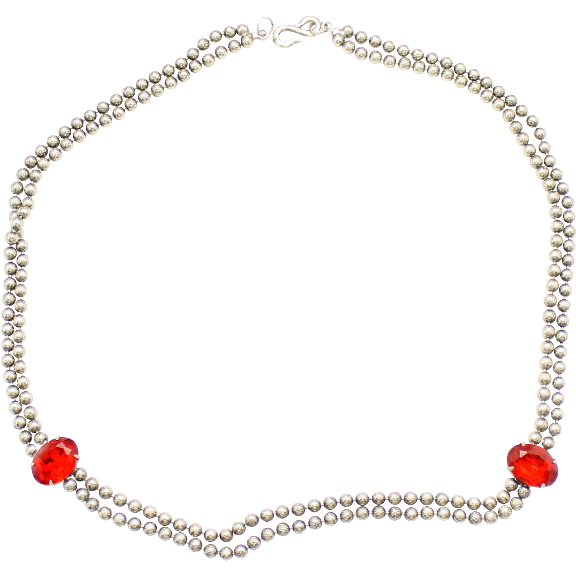 Vintage Juliana (D&E) Ball Chain & Red Rhinestone Necklace