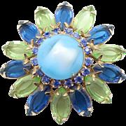 Vintage Marbled Blue Cabochon & Blue & Peridot Green Rhinestone Brooch