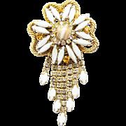 Vintage Juliana (D&E) White Gold Fluss & Rhinestone Flower Dangle Brooch
