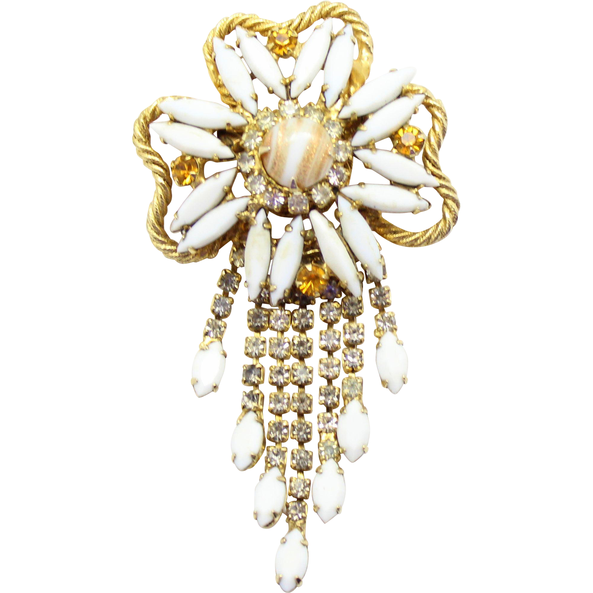 Vintage Juliana White Gold Fluss Milk Glass Rhinestone Flower Dangle Brooch