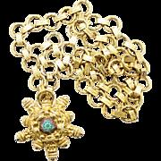 Vintage Juliana Turquoise Moroccan Matrix Cast Star Necklace or Belt