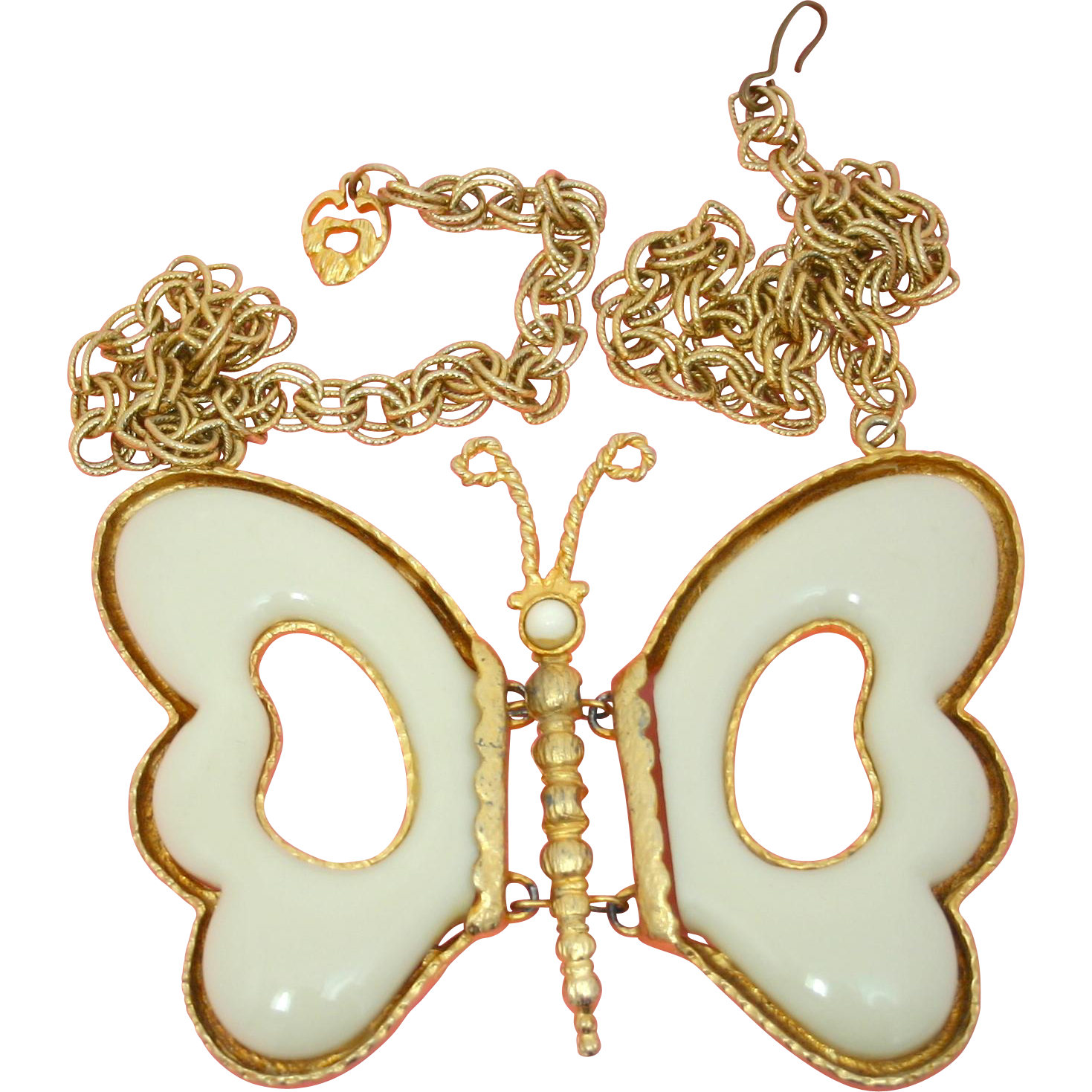 Vintage Juliana (D&E) Book Piece Cream Folding Wing Butterfly Necklace